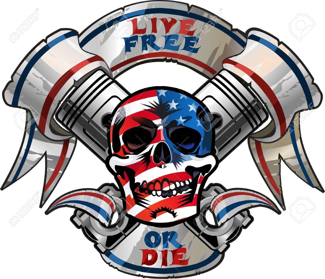 Live Free or Die / Biker Skull design - 50013764