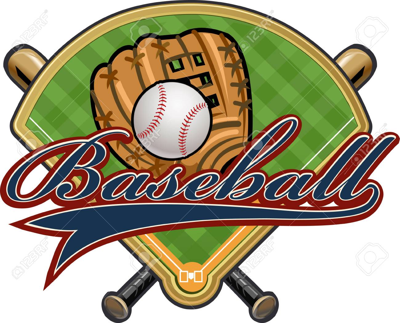 Baseball Glove Ball Bat And Field Royalty Free Cliparts Vectors
