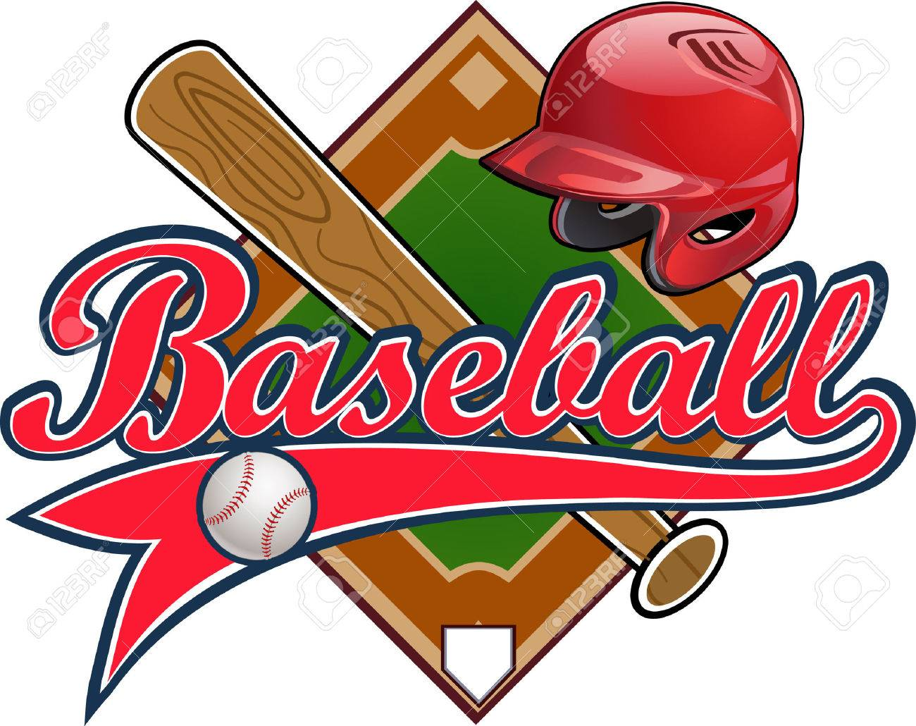 Baseball label. Baseball helmet Ball Bat field - 50440774