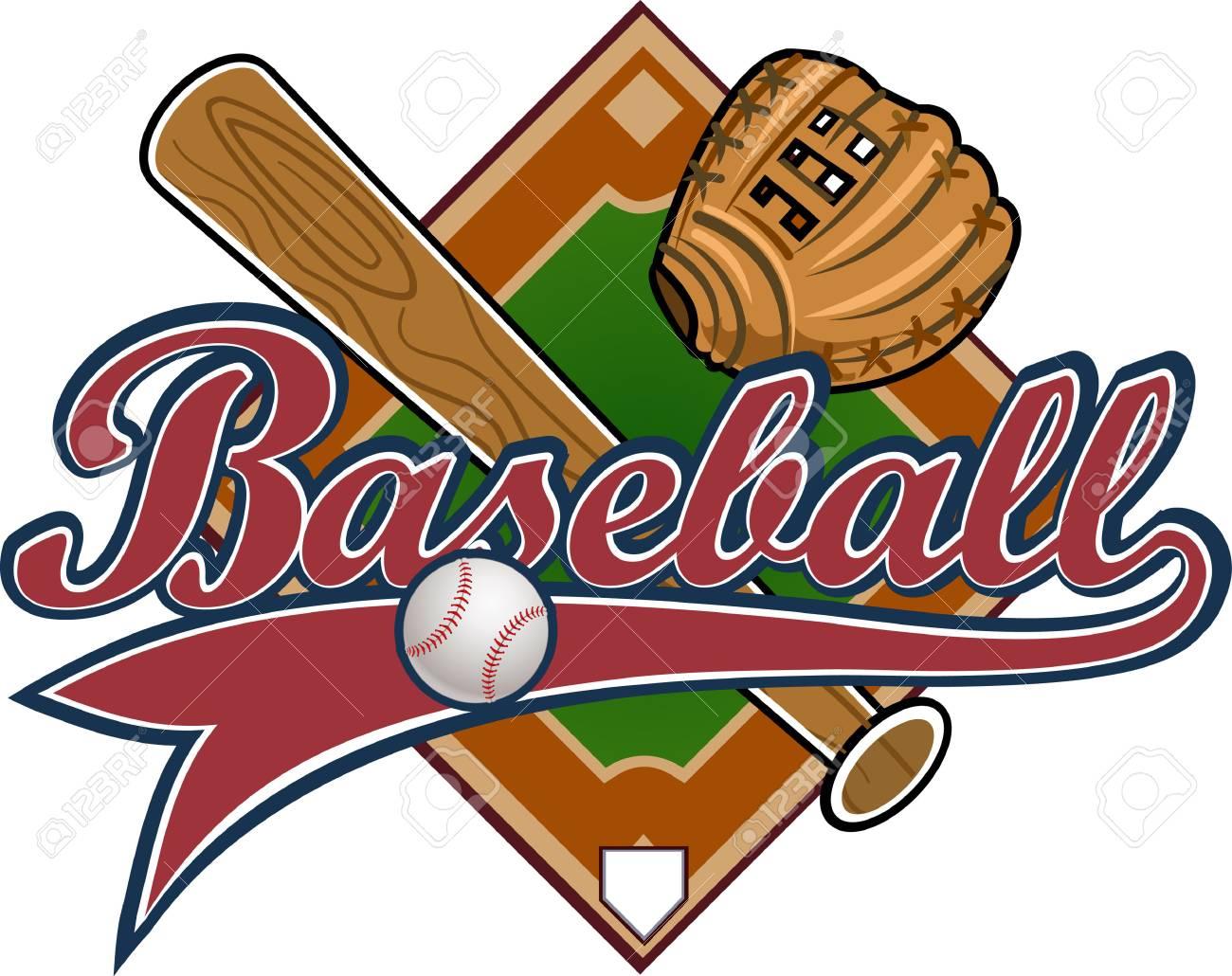 baseball label mitt ball bat base royalty free cliparts vectors rh 123rf com Baseball Bat and Ball Vector O Baseball Bat