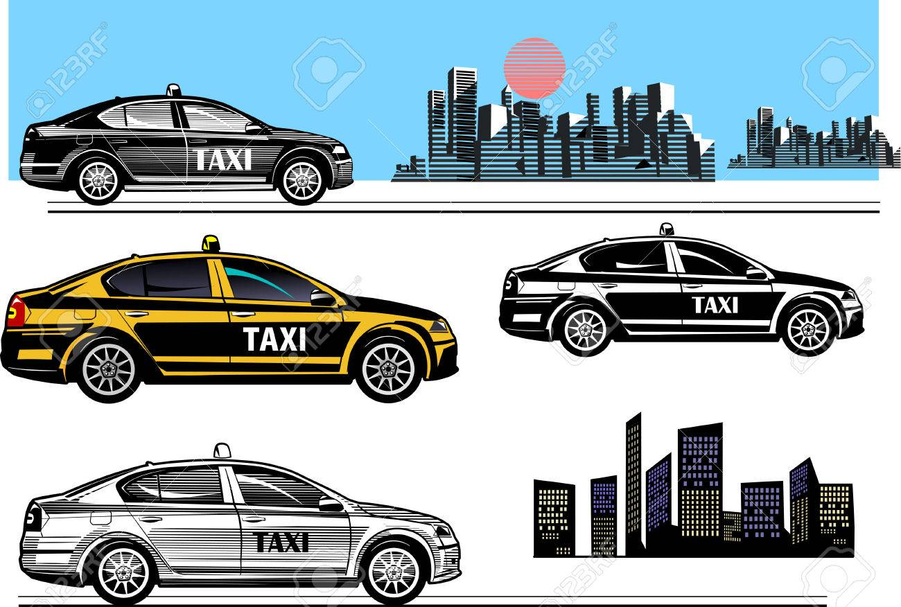 Black And Color Taxi Car Vector Illustration Stock
