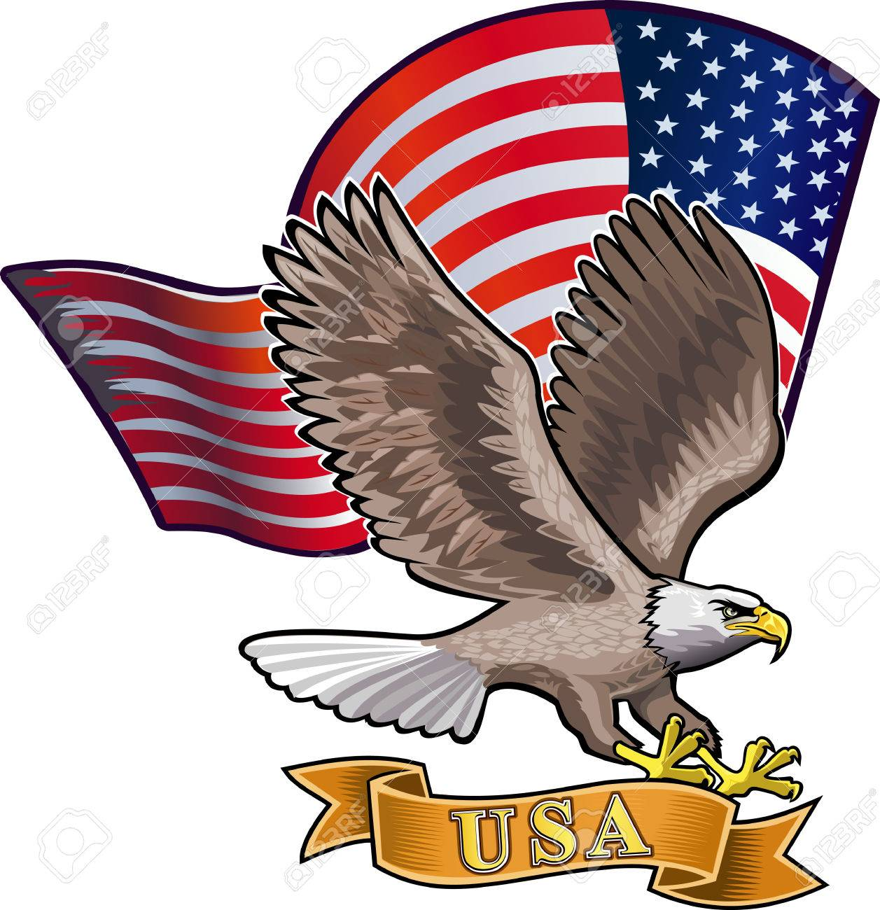 c3321858bba08 American eagle with USA flags Stock Vector - 50992321