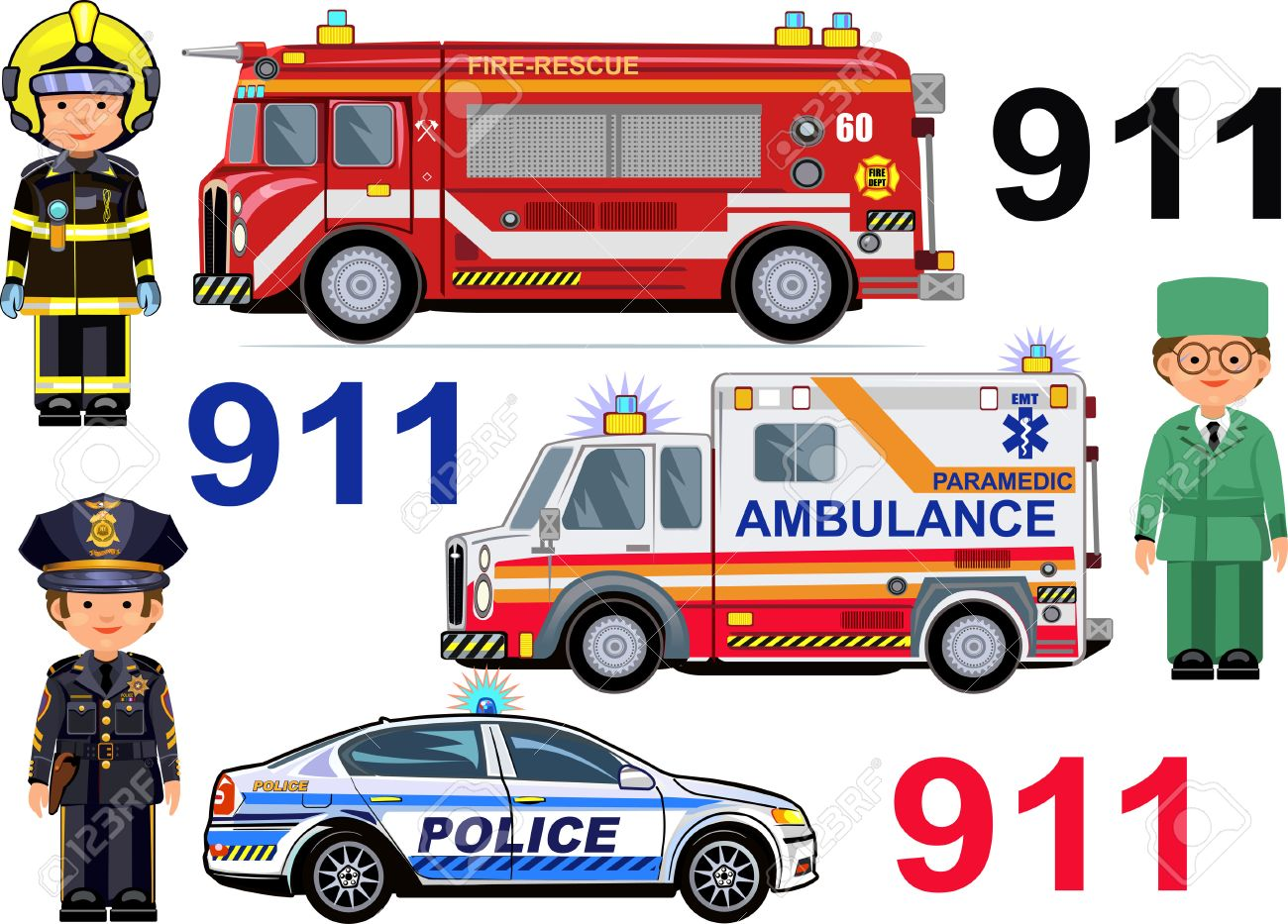 Rescue Vehicles: Fire Engine, Ambulance Police Cars. Paramedic ...