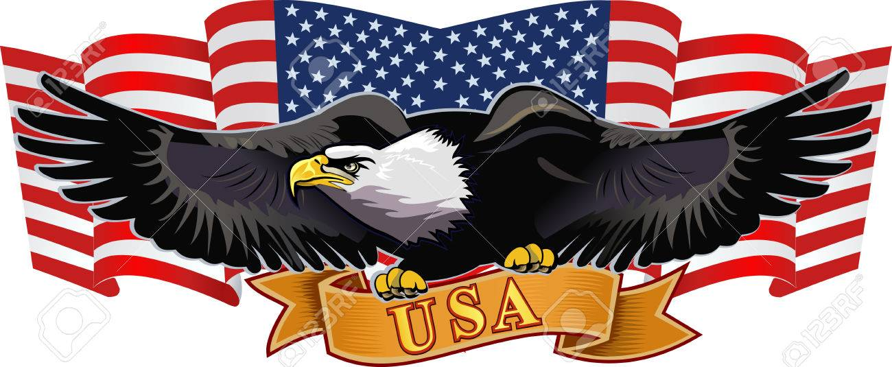 American Eagle With Usa Flags Royalty Free Cliparts Vectors And