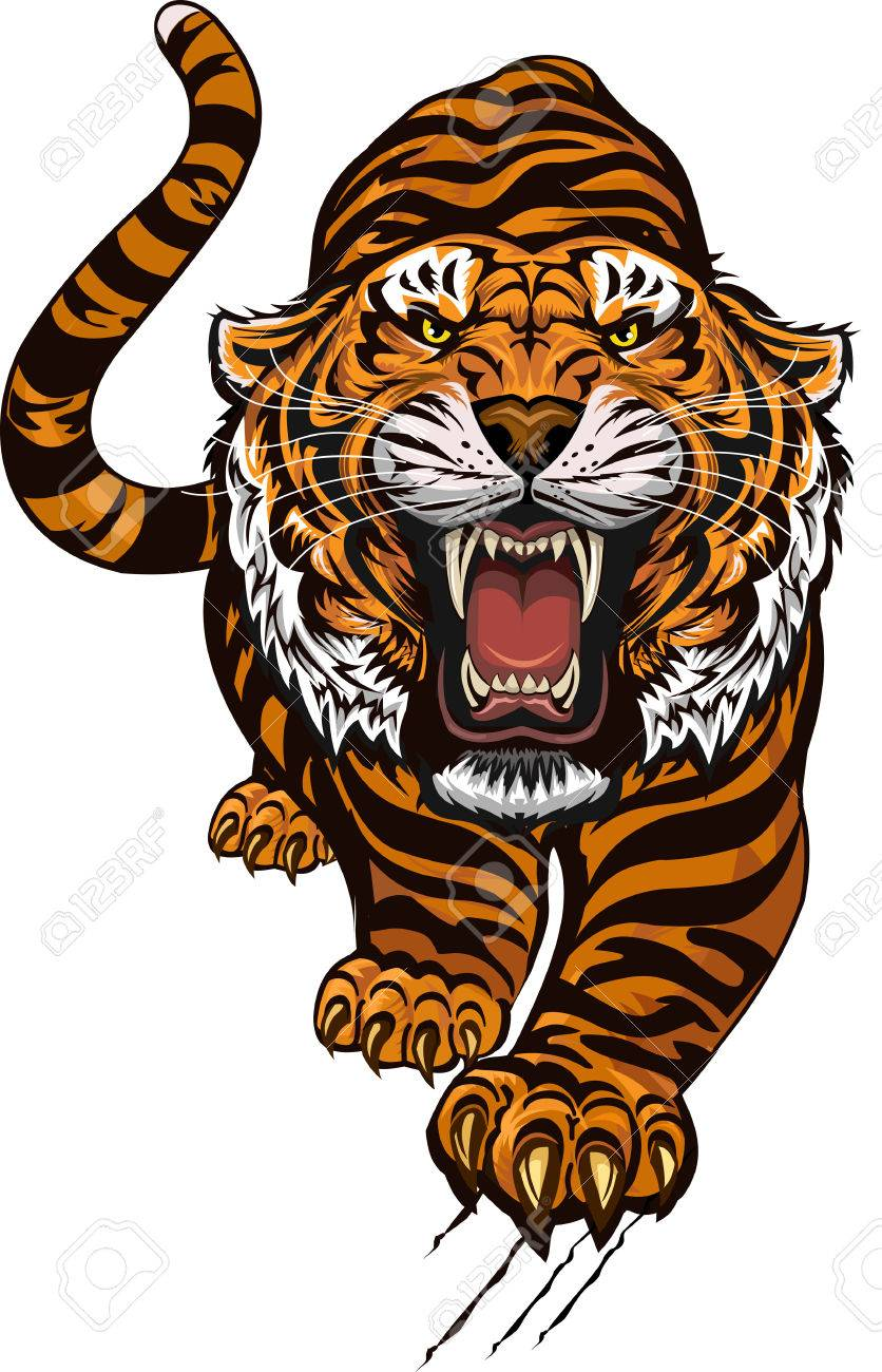 96aa6e1dfb8b4 Tiger Color Tattoo Royalty Free Cliparts, Vectors, And Stock ...