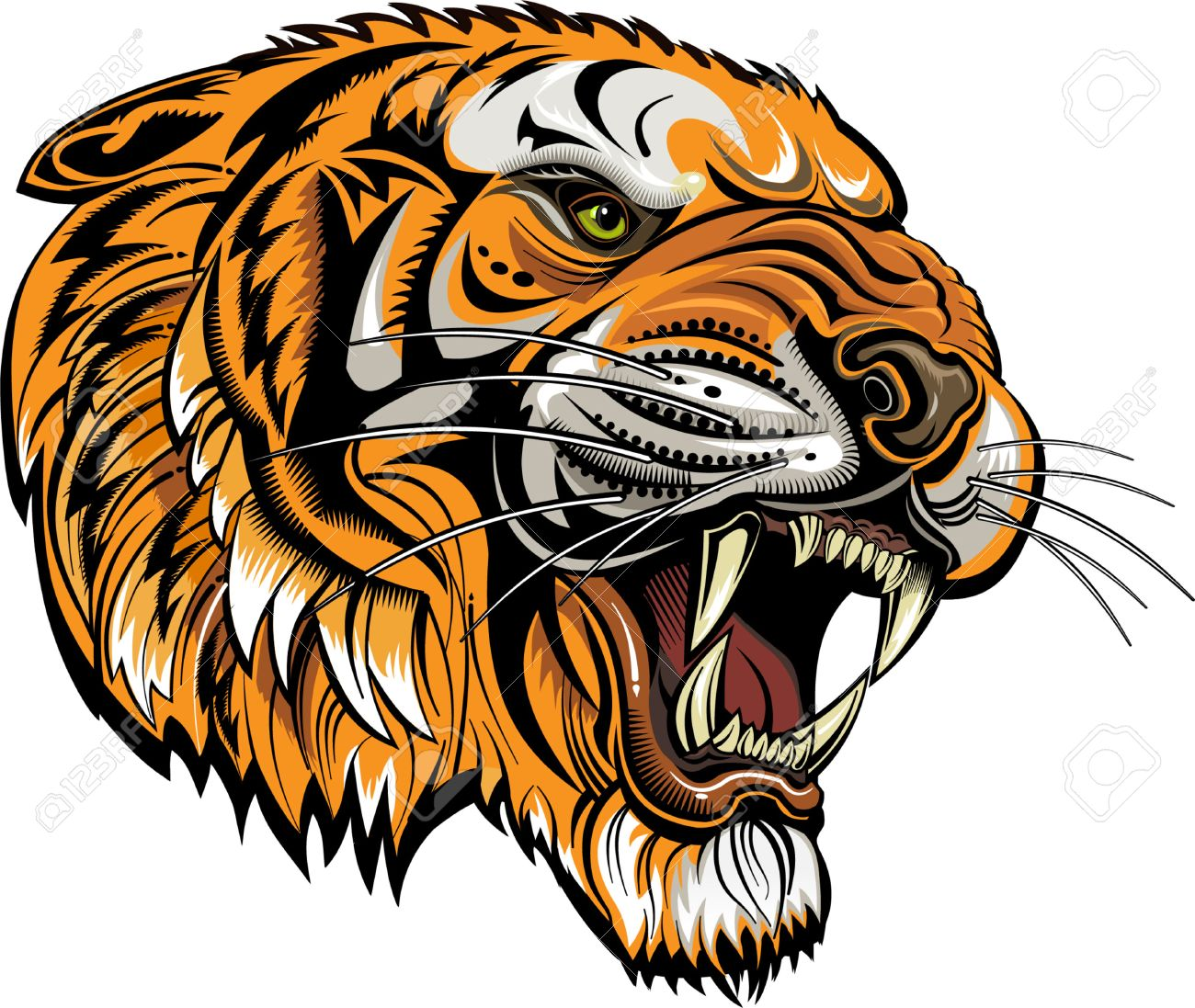 155ec02e9 Tigers Face. Saber-toothed Tiger Tattoo Royalty Free Cliparts ...
