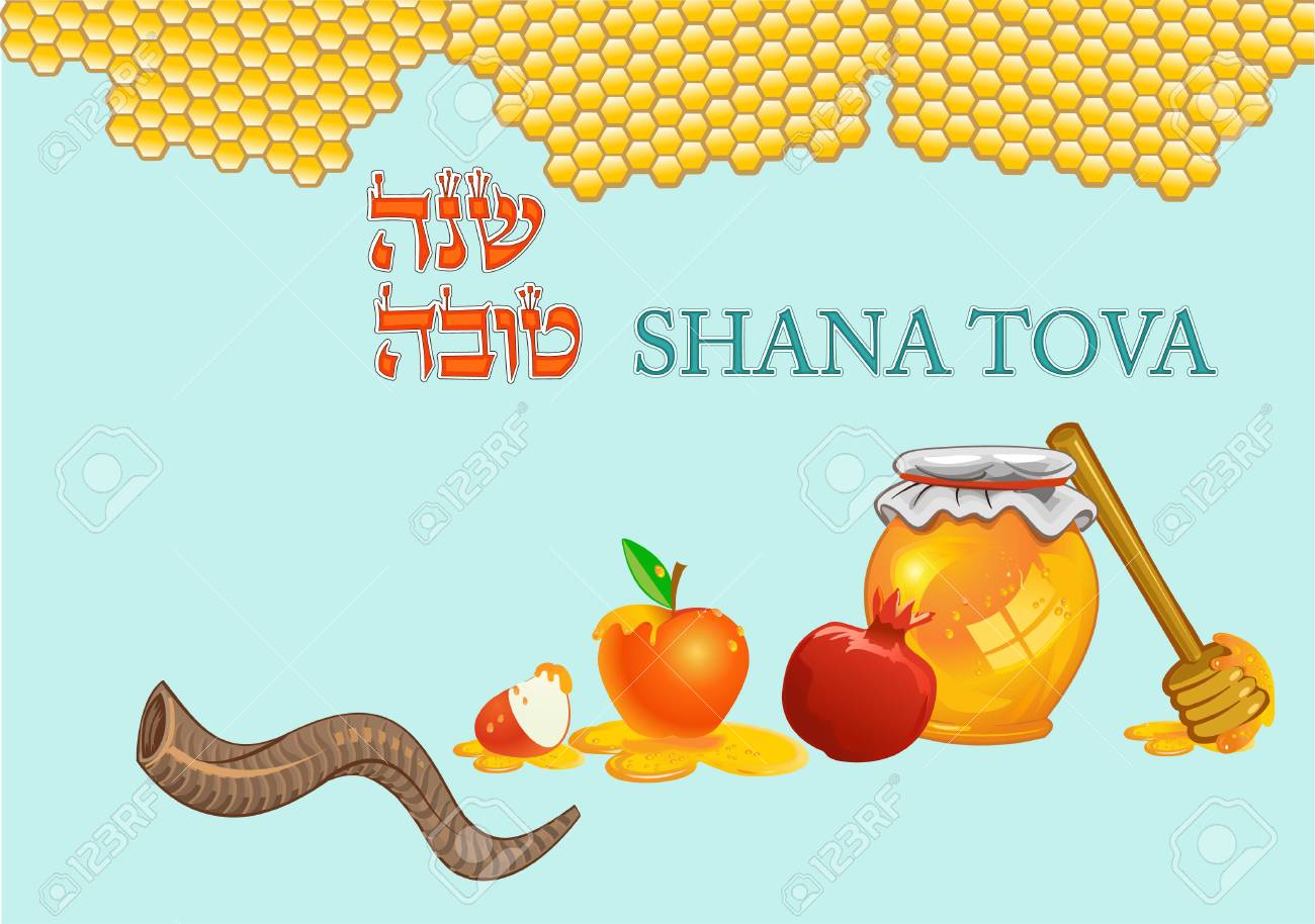 honey dipper on the bee honeycomb apple and honey for rosh hashana jewish new year