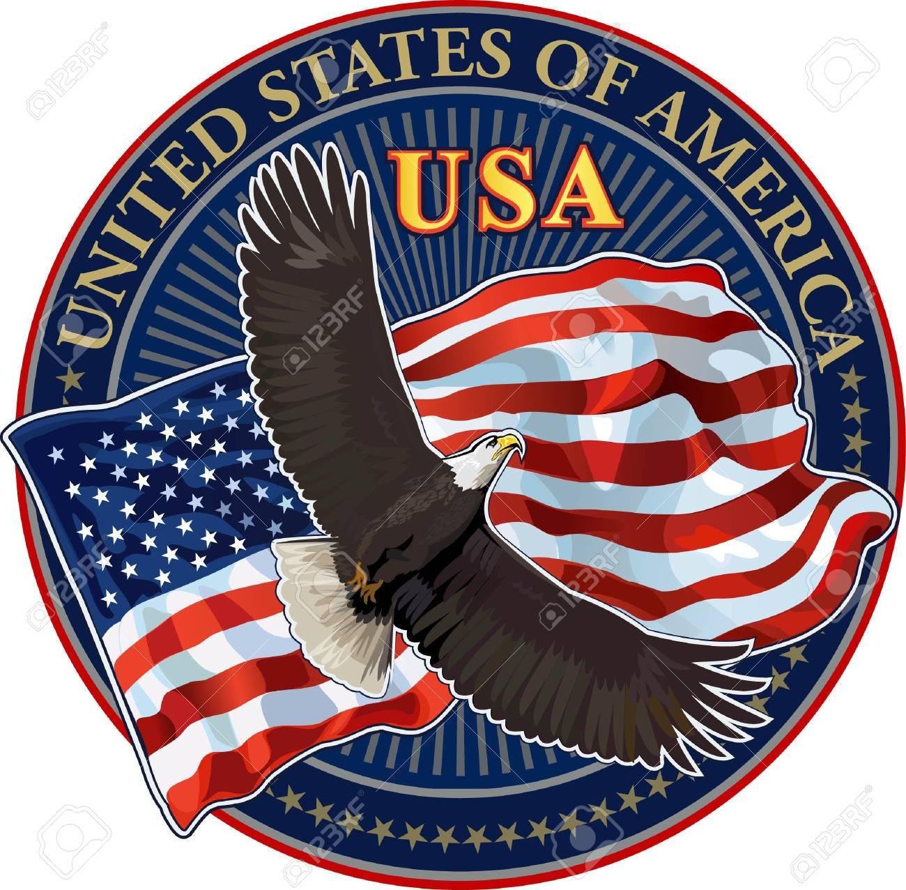 american eagle with usa flag royalty free cliparts vectors and rh 123rf com usa eagle logo vector USA Eagle Vector Hi-Rez