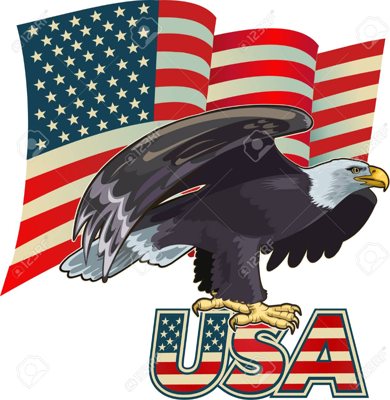 7458c0c406171 American eagle with USA flags Stock Vector - 93198901
