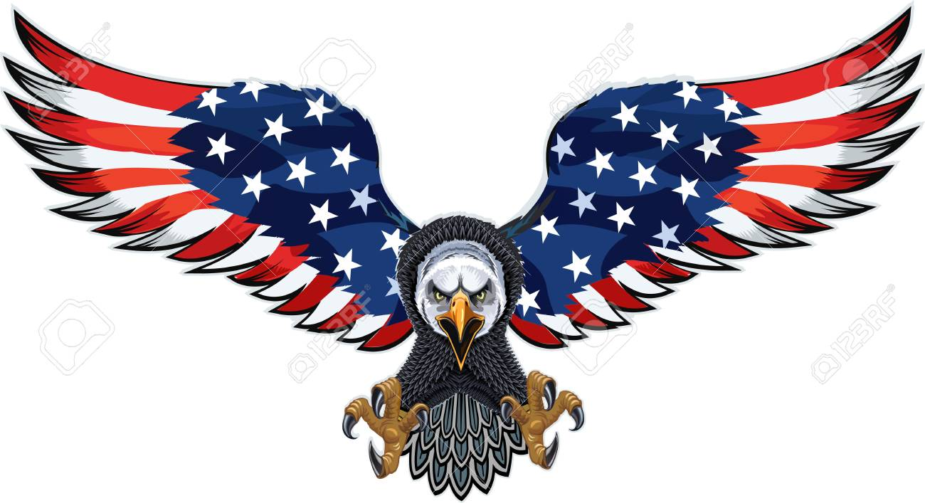 193284193685f American eagle with USA flags Stock Vector - 93321039