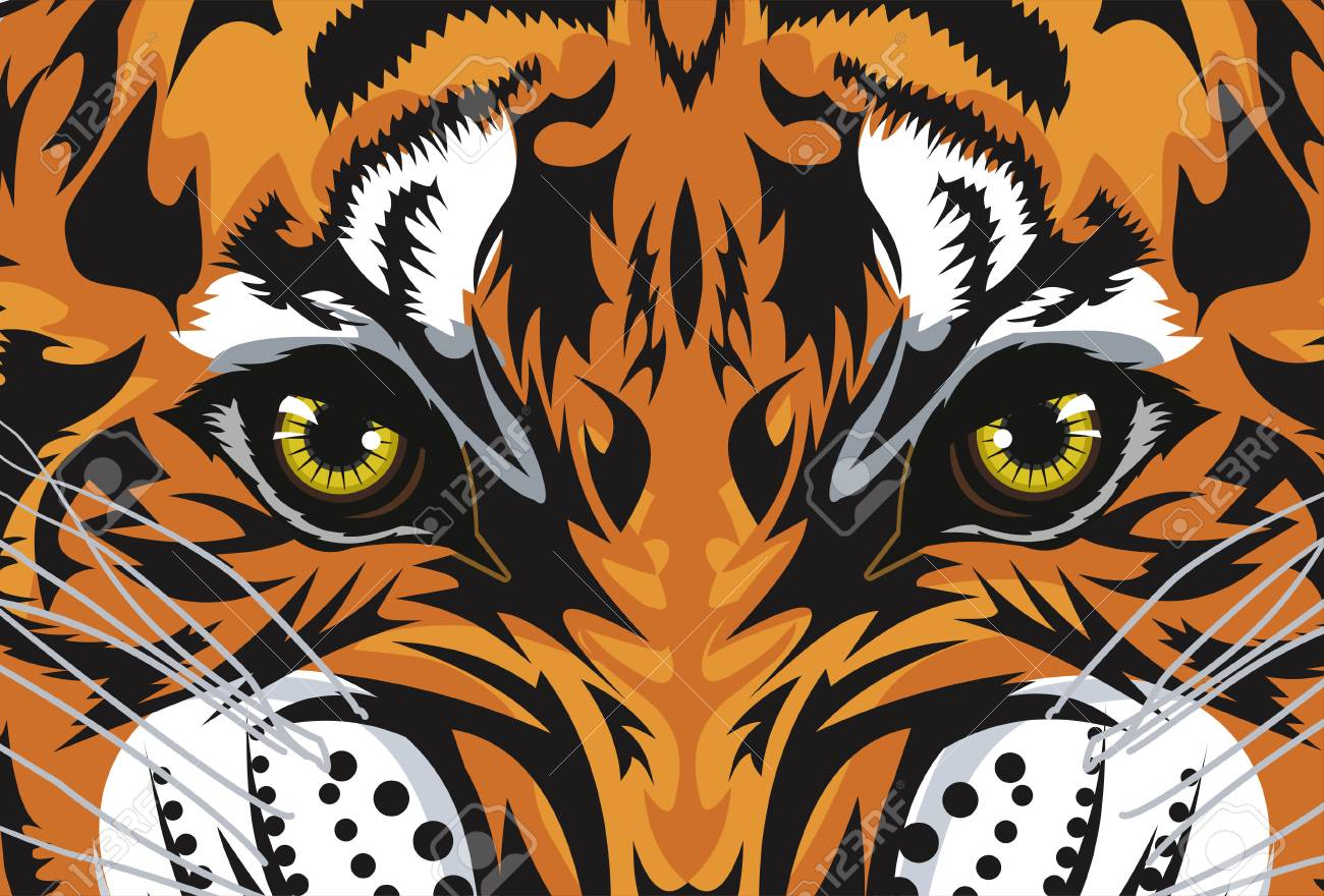 6127e8e5a Tiger Face. Tiger's Eyes Tattoo Royalty Free Cliparts, Vectors, And ...