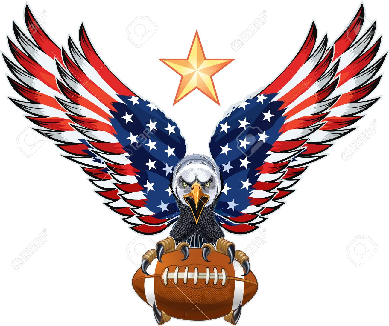 American eagle with USA flags and American Football - 120564847