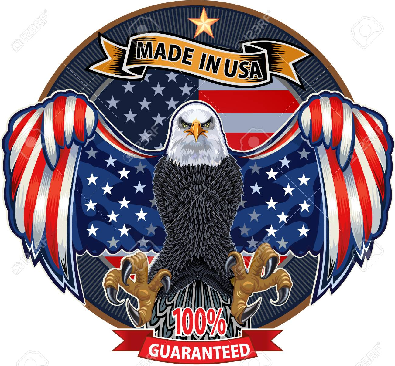American eagle with USA flags - 126400076