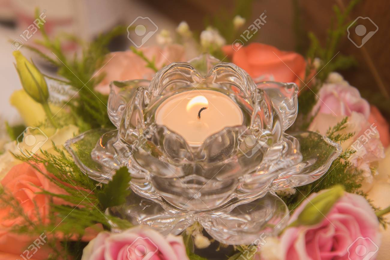 Flowers Candles Beautiful Use For Wedding Day Or Happy Birthday Etc Stock Photo