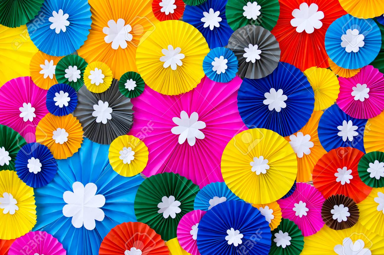 Colorful Paper Flowers Wall Background Stock Photo Picture And
