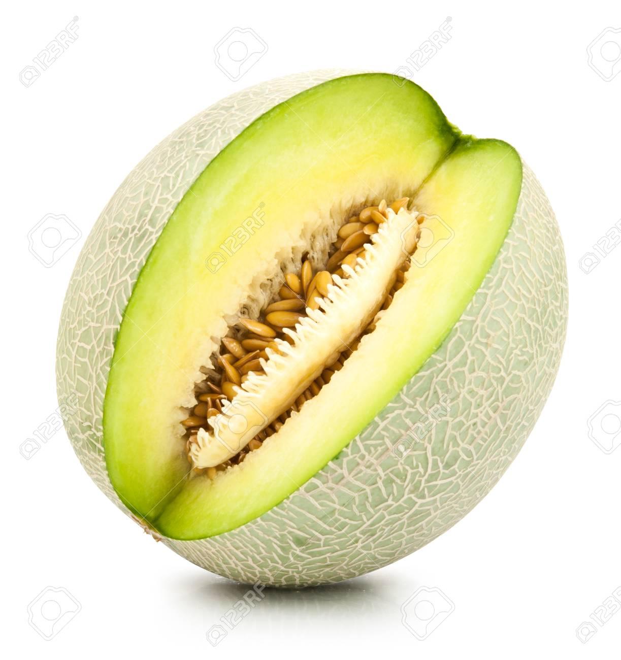 Green Cantelope – Melon cantaloupe isolated on white background.