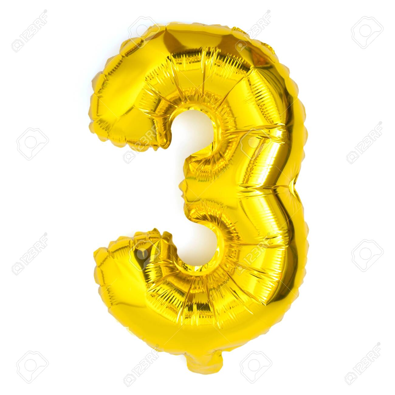 golden number three balloon party decoration anniversary on white background - 126113088