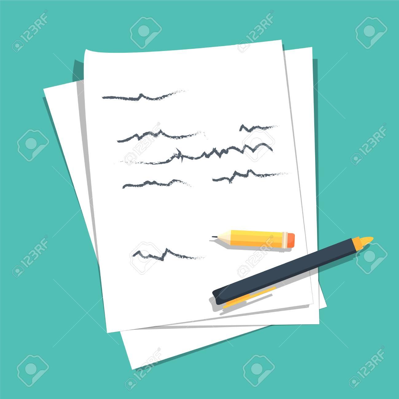 Papierblätter Stapel Mit Abstrakten Geschriebenen Text Mit Feder Und