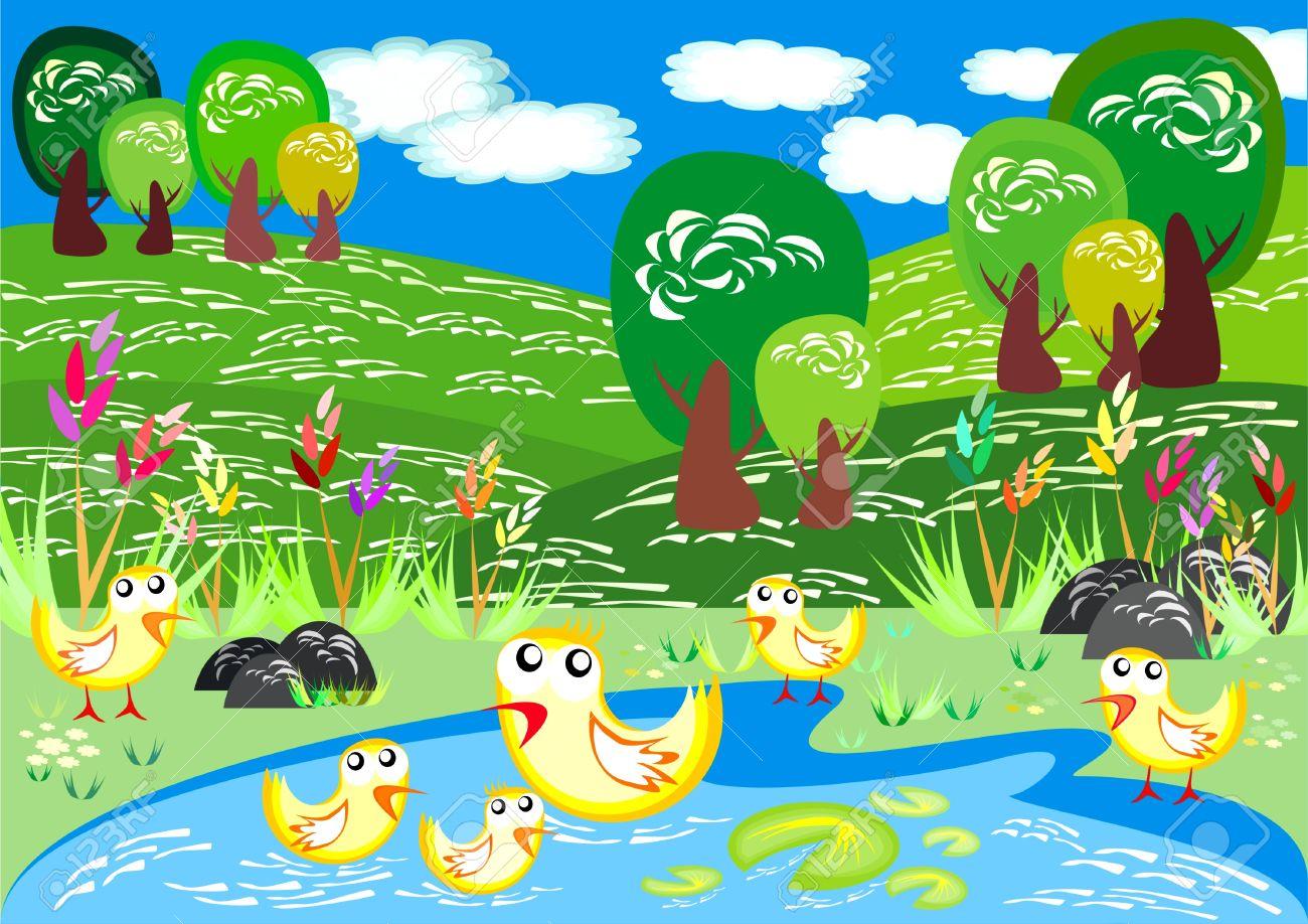 Ducks Swim in Spring Time Stock Vector - 9721187