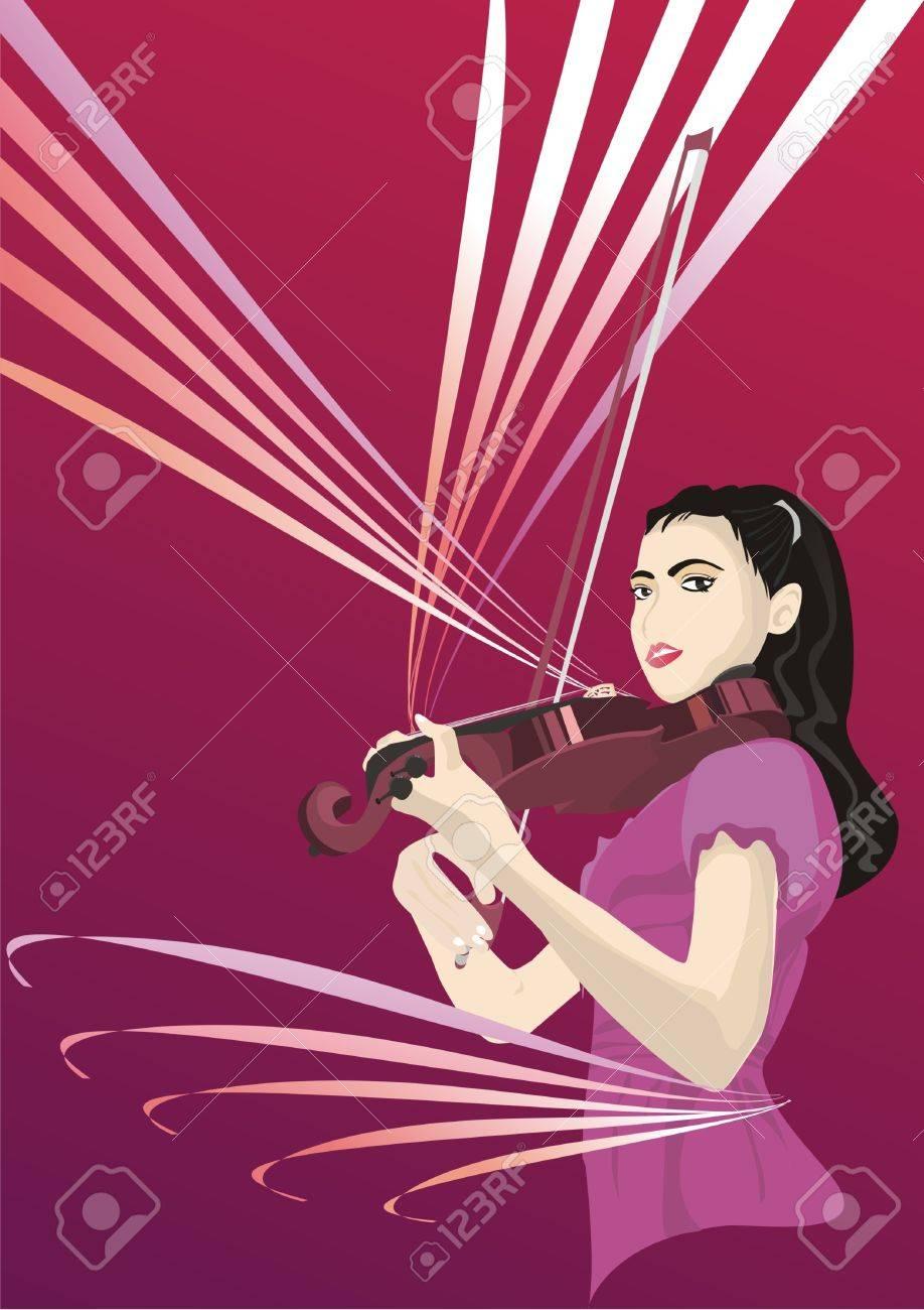 Violin Girl Stock Vector - 9763505