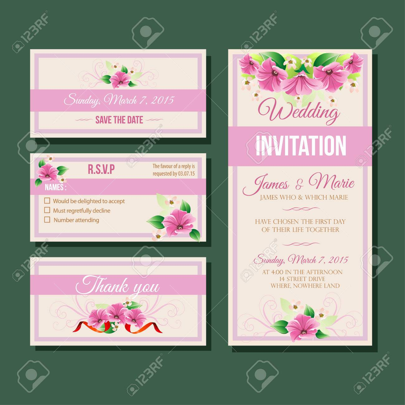 Purple Wedding Invitation Template Royalty Free Cliparts Vectors