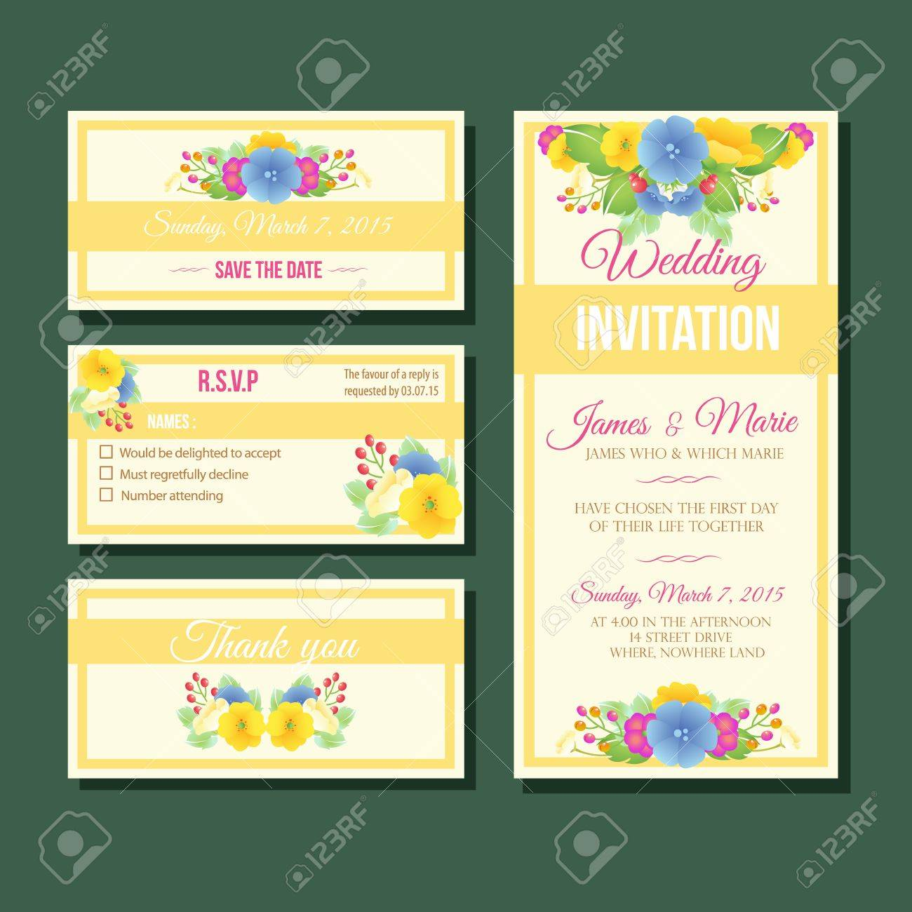Yellow Wedding Invitation Template Royalty Free Cliparts Vectors