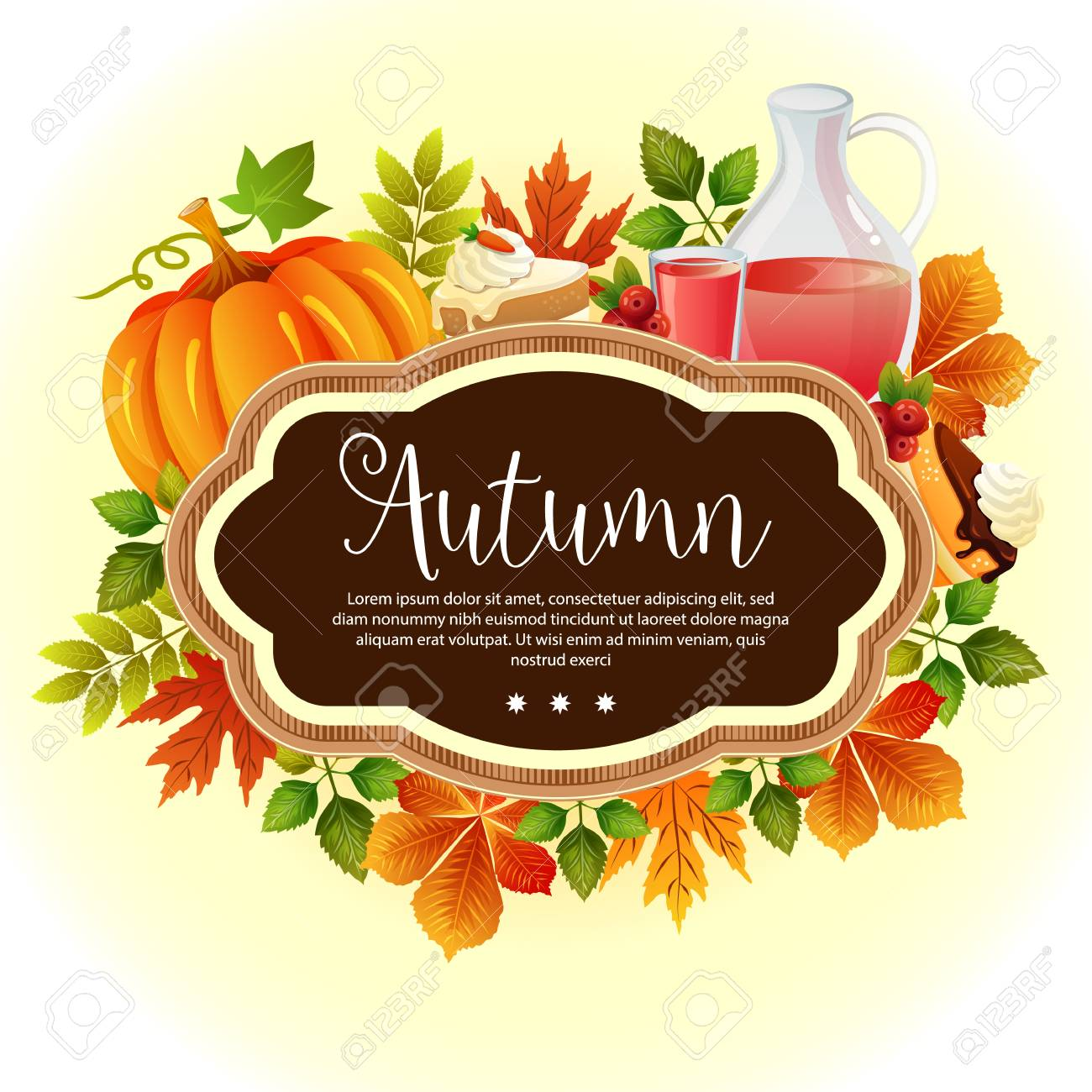 Garden Leaves Template Thanksgiving Autumn Royalty Free Cliparts ...