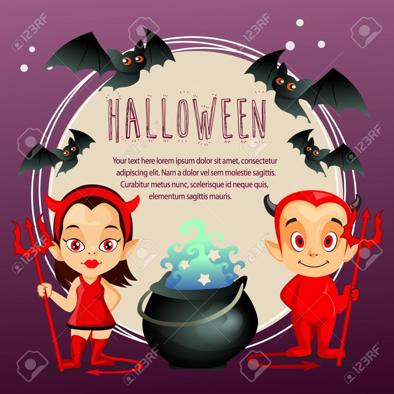 Halloween Card With Devil Cartoon Costume Theme Stock Vector 111653363
