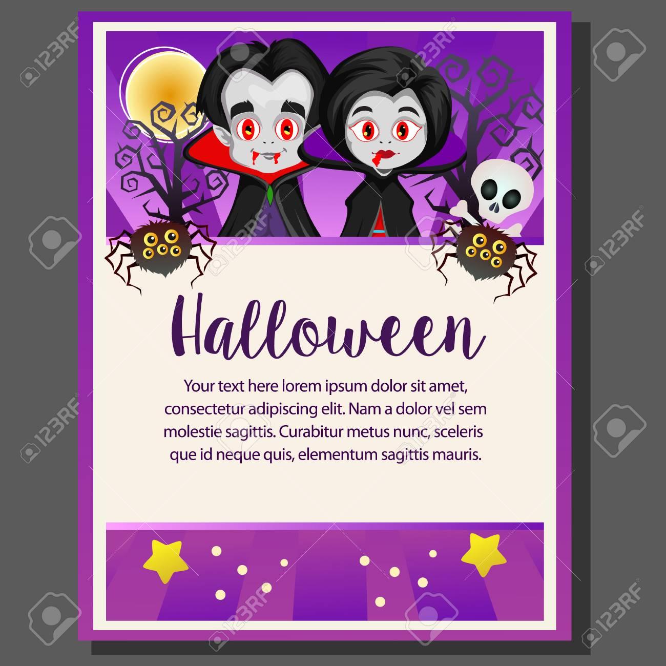 purple happy halloween theme poster dracula