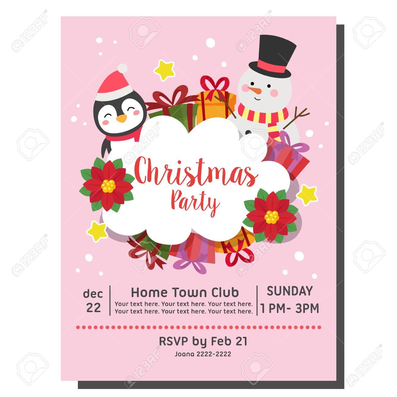 Christmas Party Invitation Card Snowman Penguin