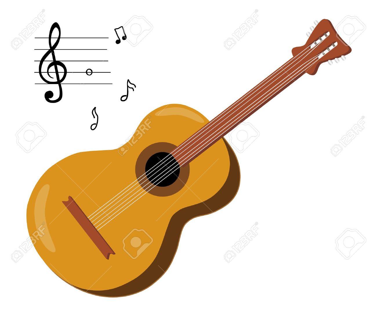 木吉他,音符在白色背景孤立