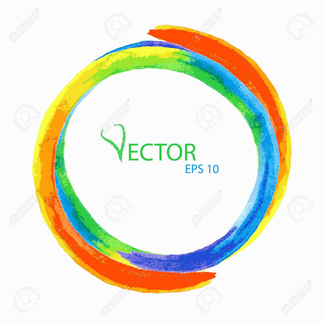 Vector Watercolor Background For Design Rainbow Circle Space For
