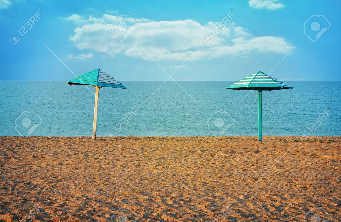 Immagini Stock Sfondo Vintage Con Vista Sul Mare Mare E Spiaggia