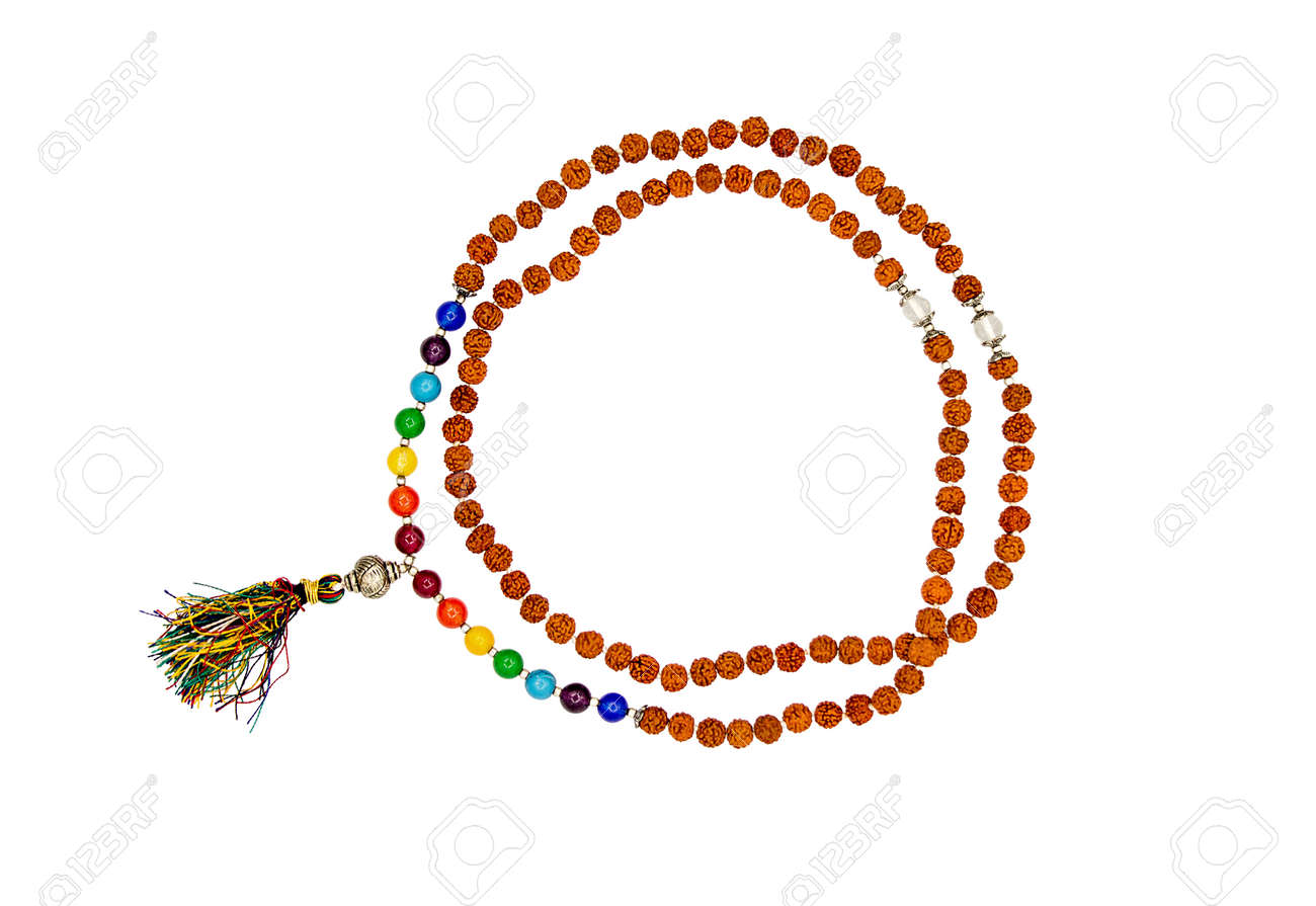 Rudraksha rosary isolated on a white background. Seven planets. - 161771681