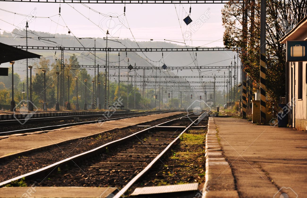 Small railway station and the old railway Stock Photo - 14165942