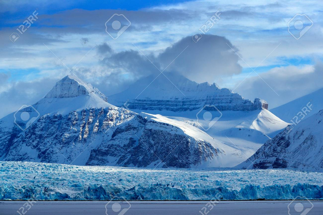 Beautiful Landscape Cold Sea Water Land Of Ice Travelling In Arctic Norway