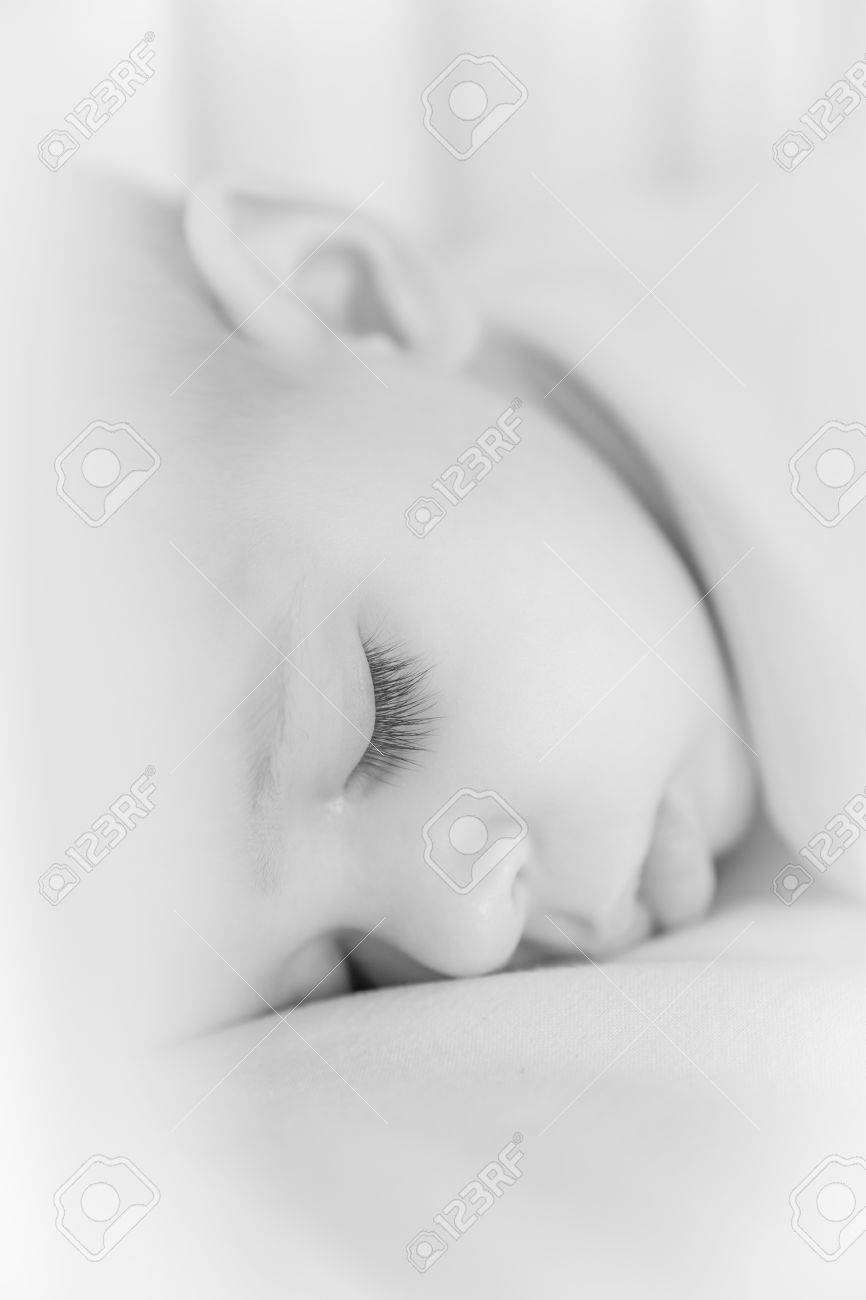 Close Up Portrait Of A Beautiful Sleeping Baby Black And White Stock Photo Picture And Royalty Free Image Image 67909710