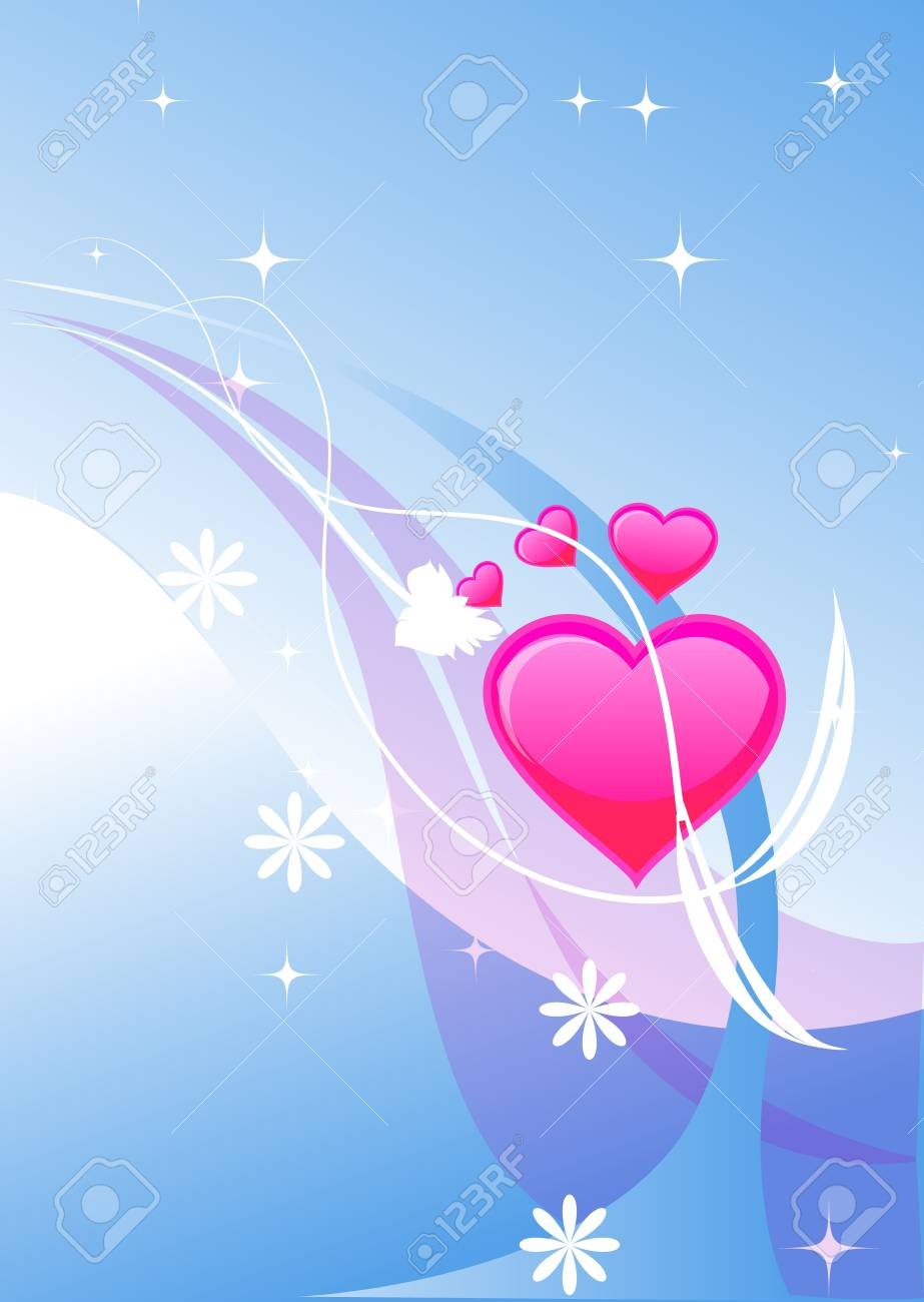 valentines heart illustraion on the beautiful colored background Stock Photo - 3882976