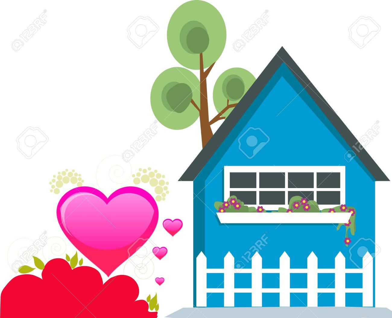 beautiful hearts with hut, flowers and tree Stock Photo - 4261028