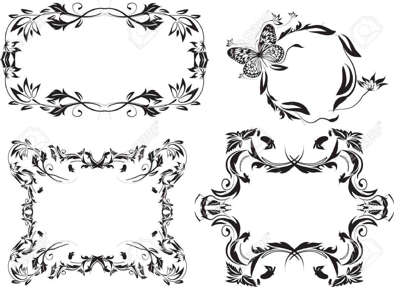 set of black floral shaped frames and pattern Stock Photo - 4261033