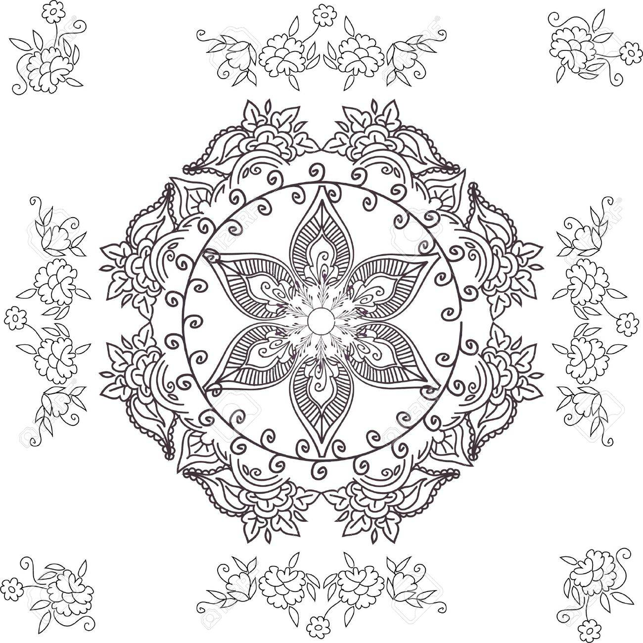 beautiful hand drawn vector pattern design good for textile, jewellary, henna and decorations. to see more patterns and floral designs. visit my portfolio. Stock Photo - 4552640