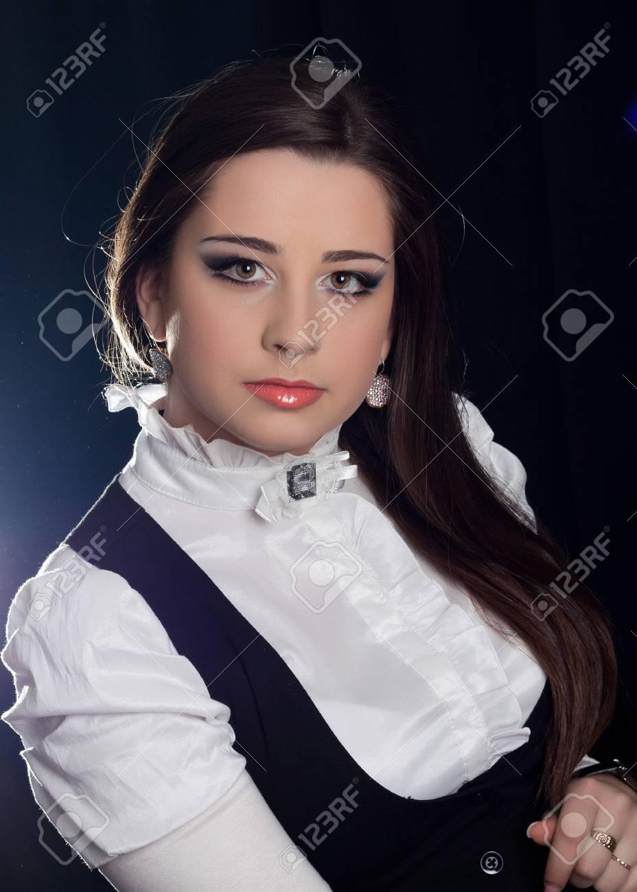 beautifull brunette , shooting in the studio with dark background Stock Photo - 13639827