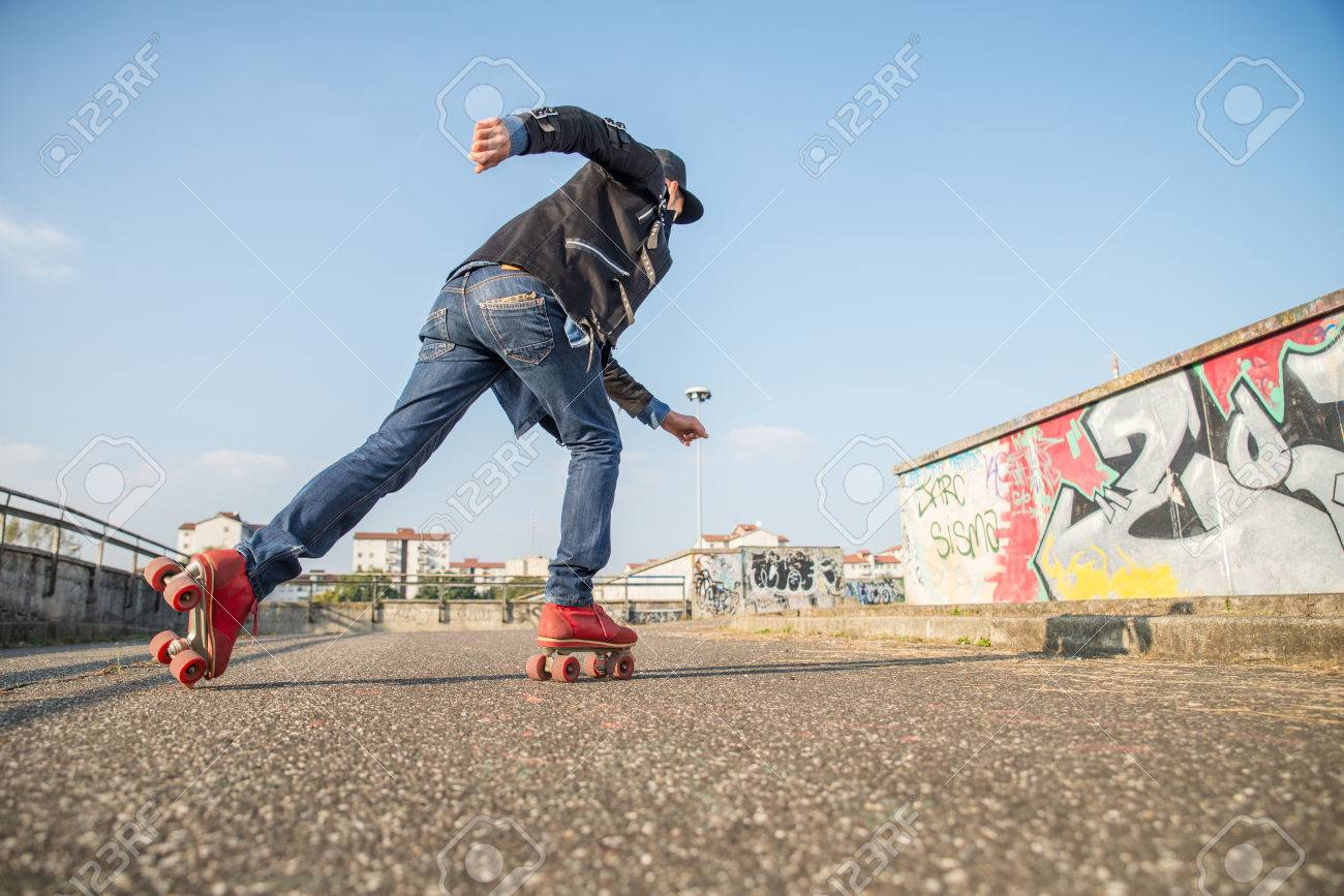 Roller skate xtreme - Cool Man With Roller Skating Shoes Running Concepts Of Youthness Sport Lifestyle And
