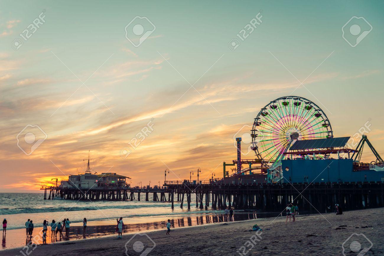 Santa Monica pier at sunset, Los Angeles - 50576458