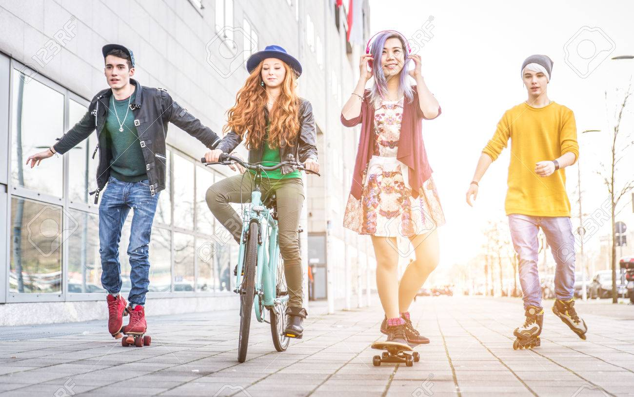Group of teens making activities in an urban area. concept about youth and friendship - 54083734
