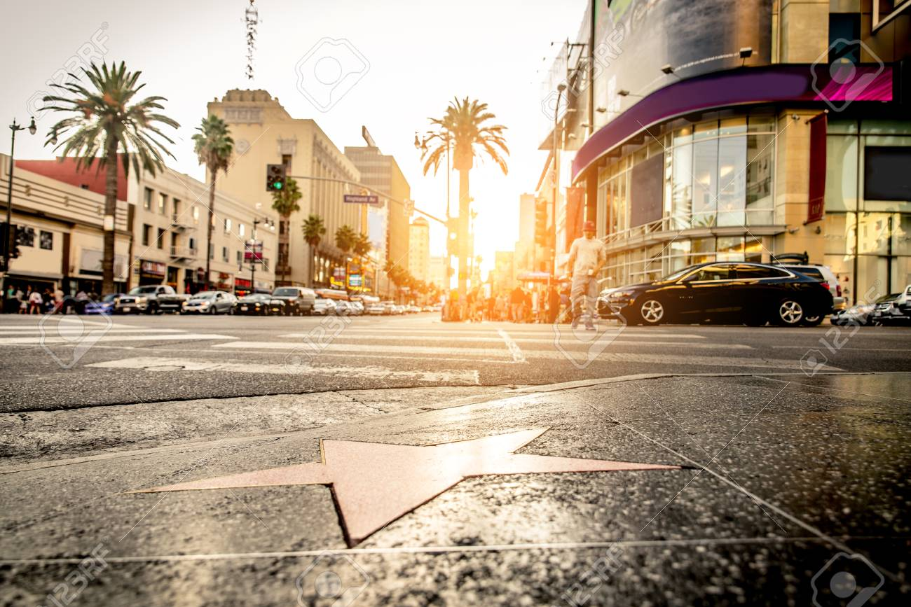 Walk of Fame at sunset on Hollywood Boulevard - 105805926