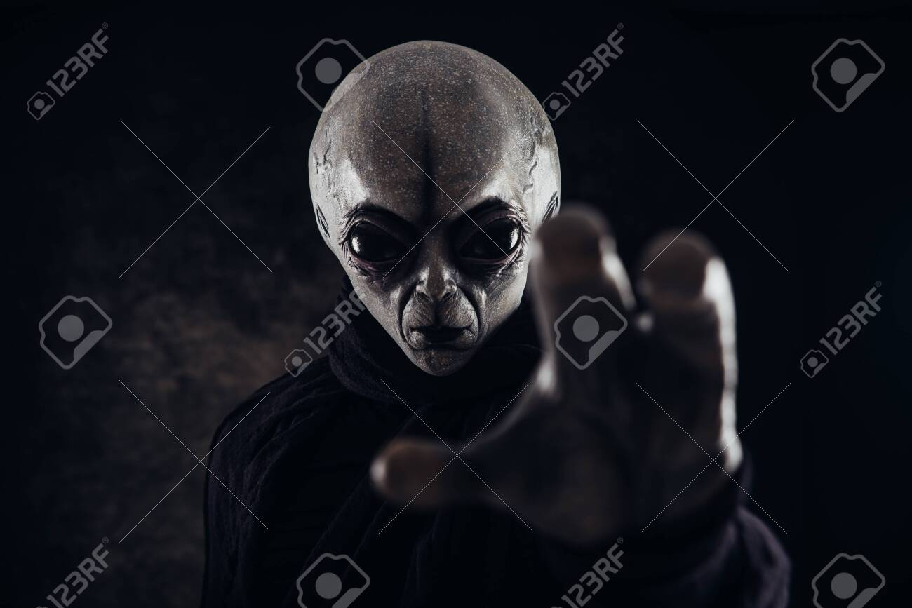 Alien creature has a message for humans. Grey kind humanoid from an other planet portrait series. - 126356215