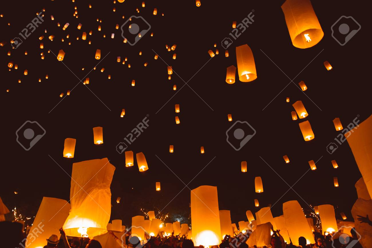 Loy Krathong Festival Thai New Year Party With Floating Lanterns Stock Photo Picture And Royalty Free Image Image 129059586