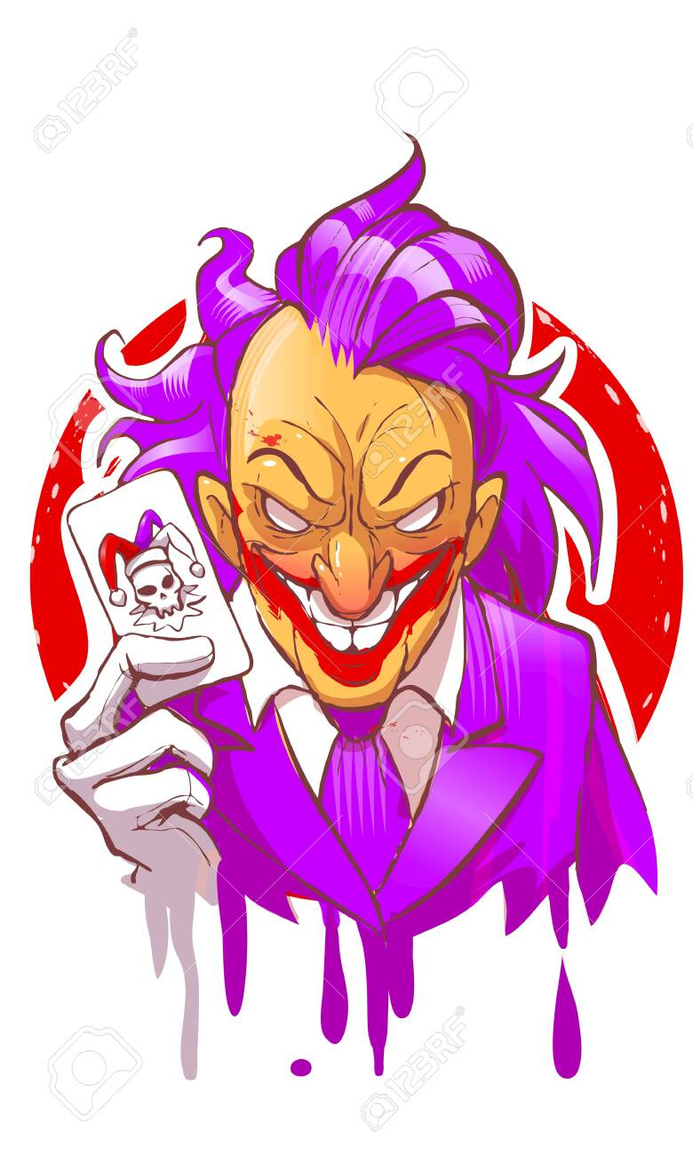 Cartoon Joker Character Smiling Holding Play Card Violet Suit