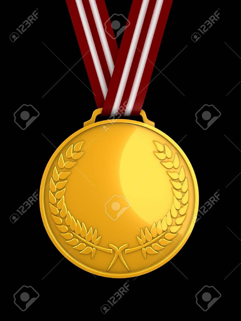 3d image, shiny gold medal Stock Photo - 3508215